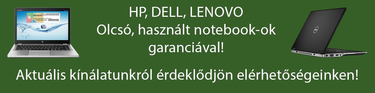 HP, DELL, Lenovo használt notebook-ok